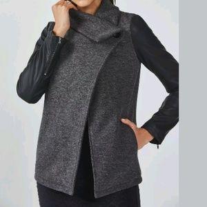Fabletics Wrap Jacket XS Milano Coat Gray Black